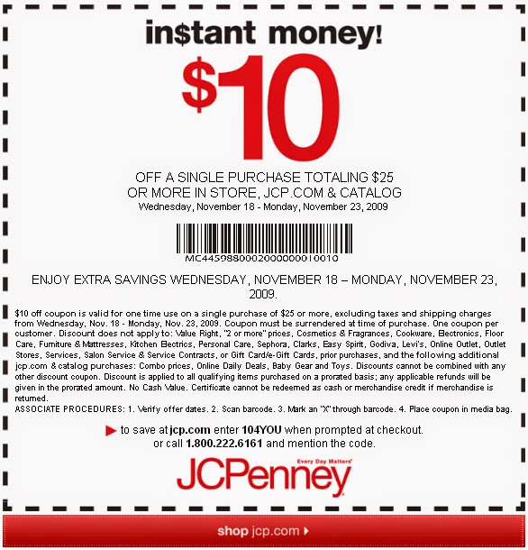 Save on furniture, clothing, bed & bath, shoes, gifts and more. Today's best JCPenney coupons are available now and new coupons are added daily. Sign up below to receive email alerts for new JCPenney coupon codes and printable coupons. How to Use a JCPenny Coupon Code Online Step-By-Step. Add your desired item(s) to the shopping bag.